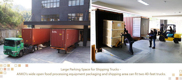 ANKO's wide open food processing equipment packaging and shipping area can fit two 40-feet trucks