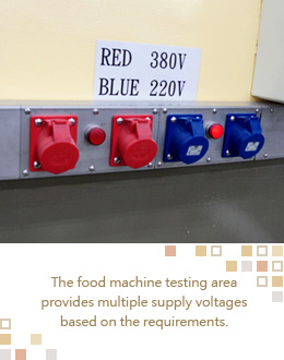 The food machine testing area provides multiple supply voltages based on the requirements.